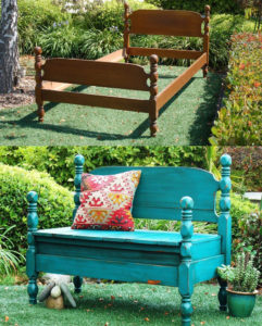 Give old things a new life: old bed – garden bench