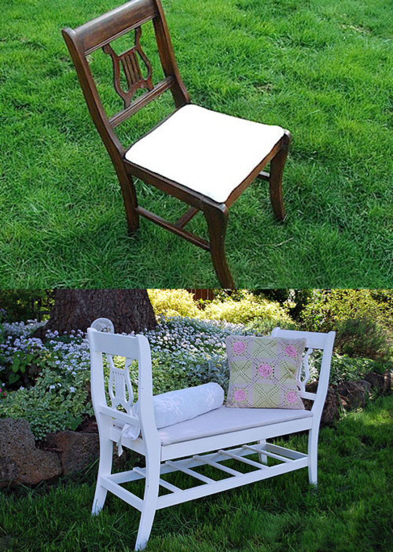 Give old things a new life: old chairs – garden bench