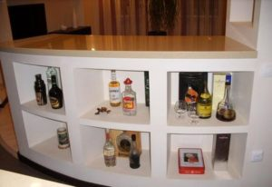Bar counter from plasterboard