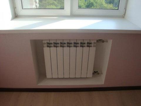 Niche for radiator