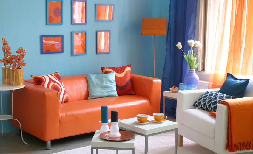 Blue + Orange colors in interior