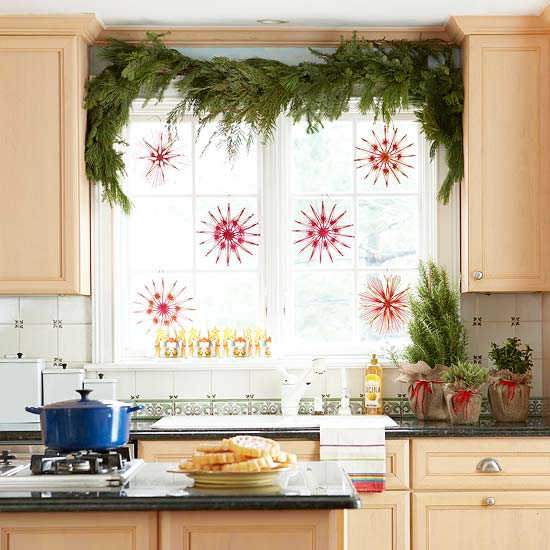Decorate the window in the kitchen