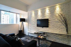 painting white brick wall