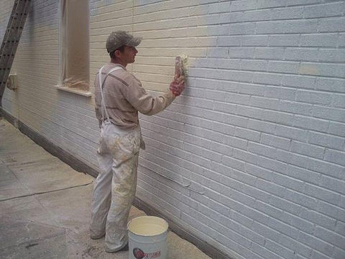 painting exterior brick wall